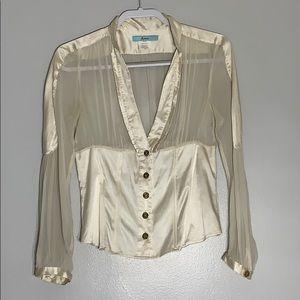 Marciano Romantic Style Silk Blouse V Neck